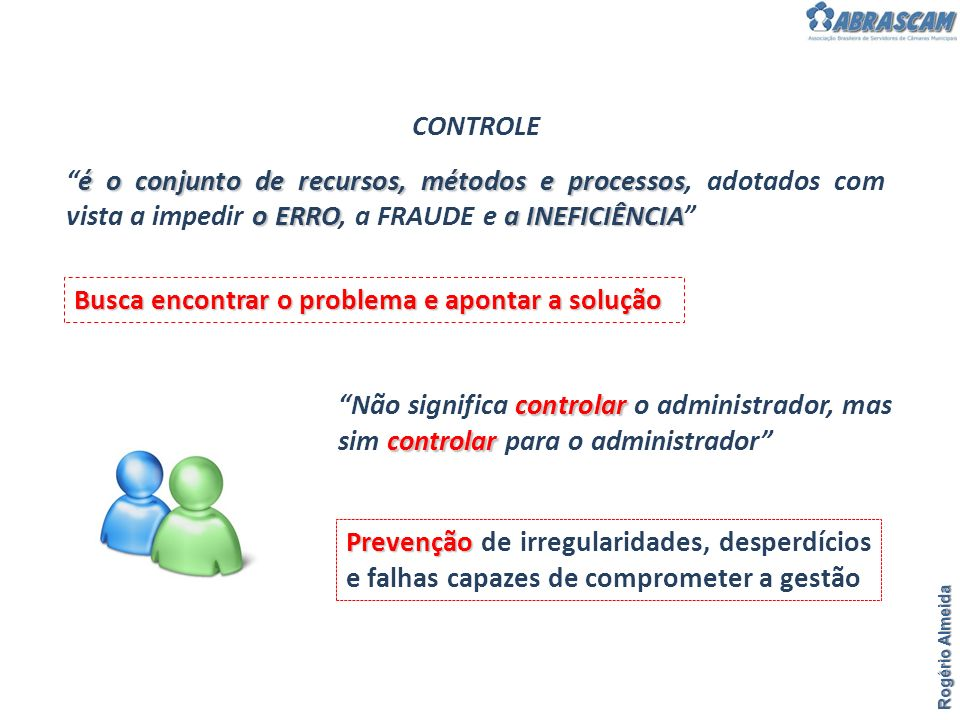 Rogério Almeida CONTROLE é o conjunto de recursos, métodos e processos o ERROa INEFICIÊNCIAé o conjunto de recursos, métodos e processos, adotados com