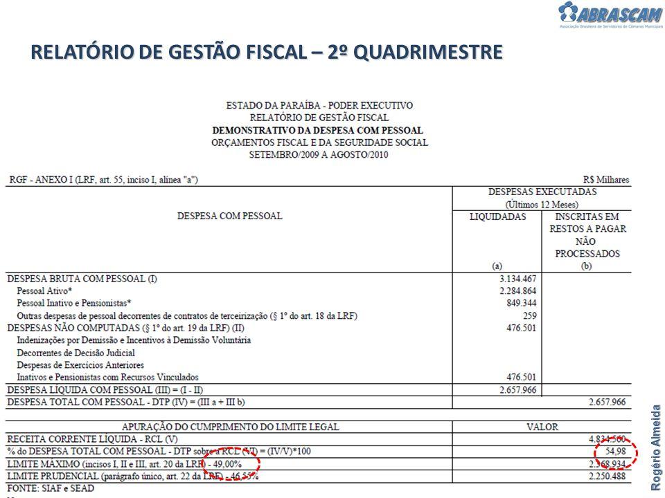 RELATÓRIO DE GESTÃO FISCAL – 2º QUADRIMESTRE Rogério Almeida