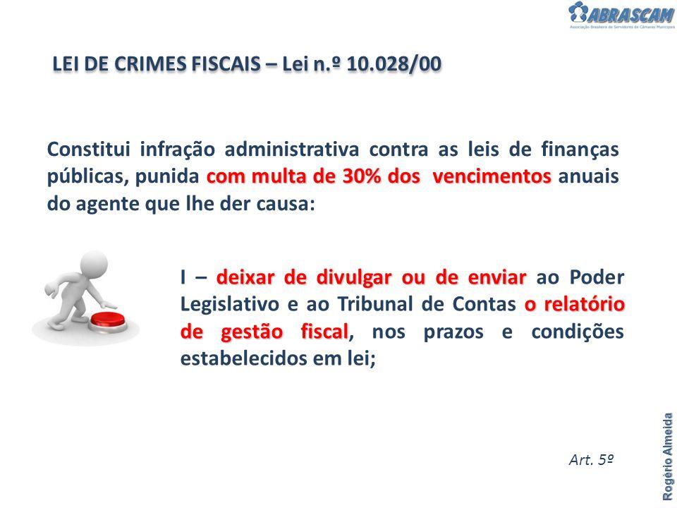 Rogério Almeida Se o gestor não publicar o Relatório de Gestão Fiscal.