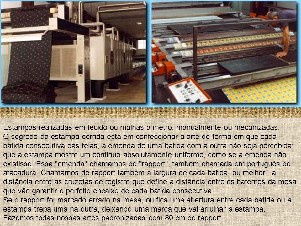 Estampas realizadas em tecido ou malhas a metro, manualmente ou mecanizadas. O segredo da estampa corrida está em confeccionar a arte de forma em que