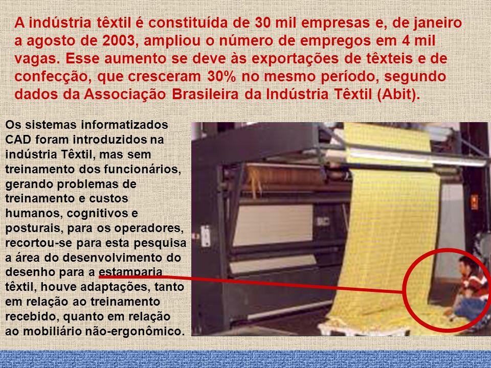 A indústria têxtil é constituída de 30 mil empresas e, de janeiro a agosto de 2003, ampliou o número de empregos em 4 mil vagas. Esse aumento se deve