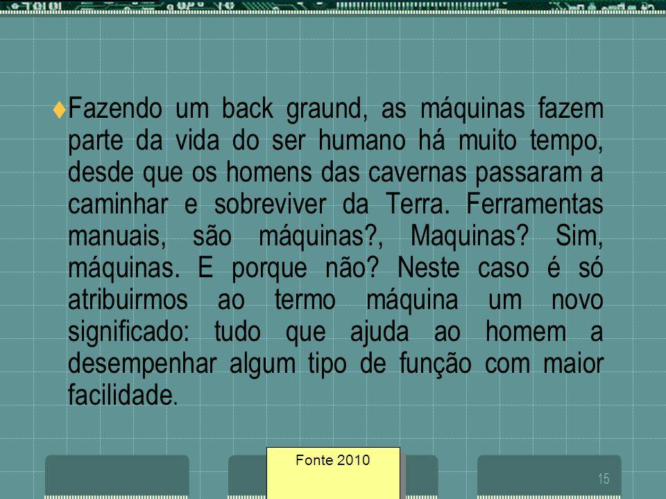 Fonte geosites/200515 Fazendo um back graund, as máquinas fazem parte da vida do ser humano há muito tempo, desde que os homens das cavernas passaram