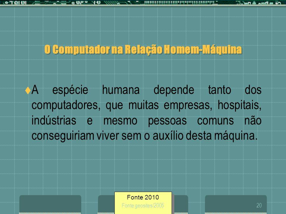 Fonte 2010 Fonte geosites/200520 O Computador na Relação Homem-Máquina A espécie humana depende tanto dos computadores, que muitas empresas, hospitais