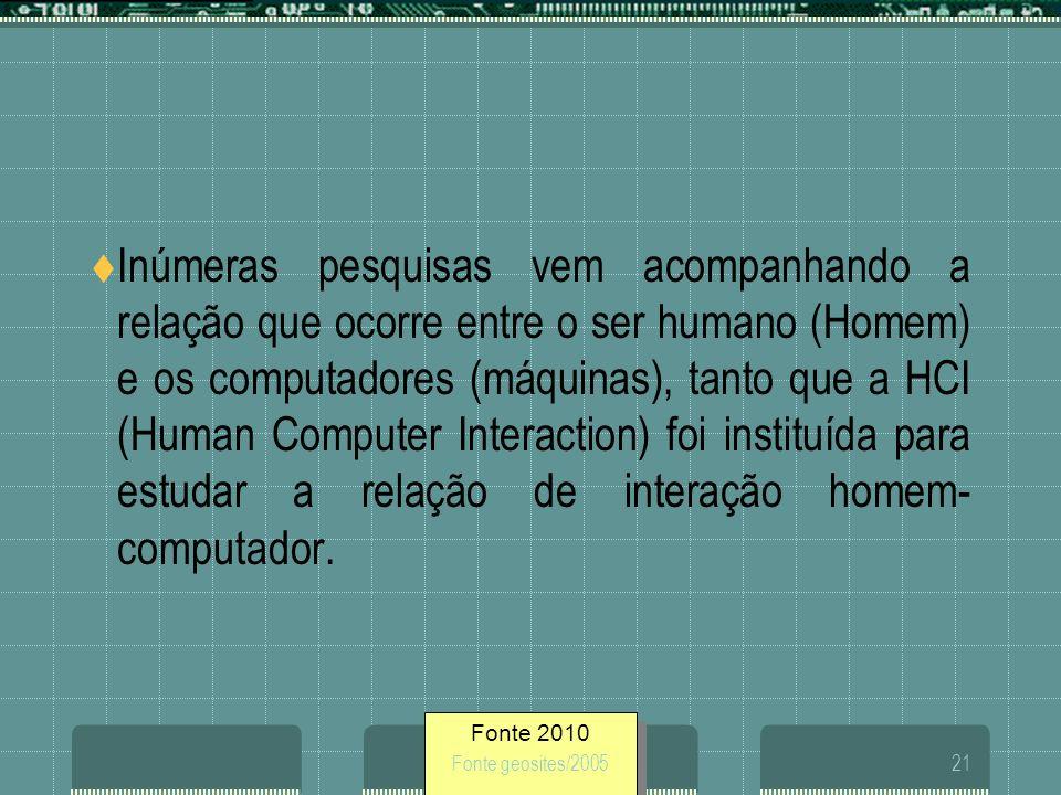 Fonte 2010 Fonte geosites/200521 Inúmeras pesquisas vem acompanhando a relação que ocorre entre o ser humano (Homem) e os computadores (máquinas), tan