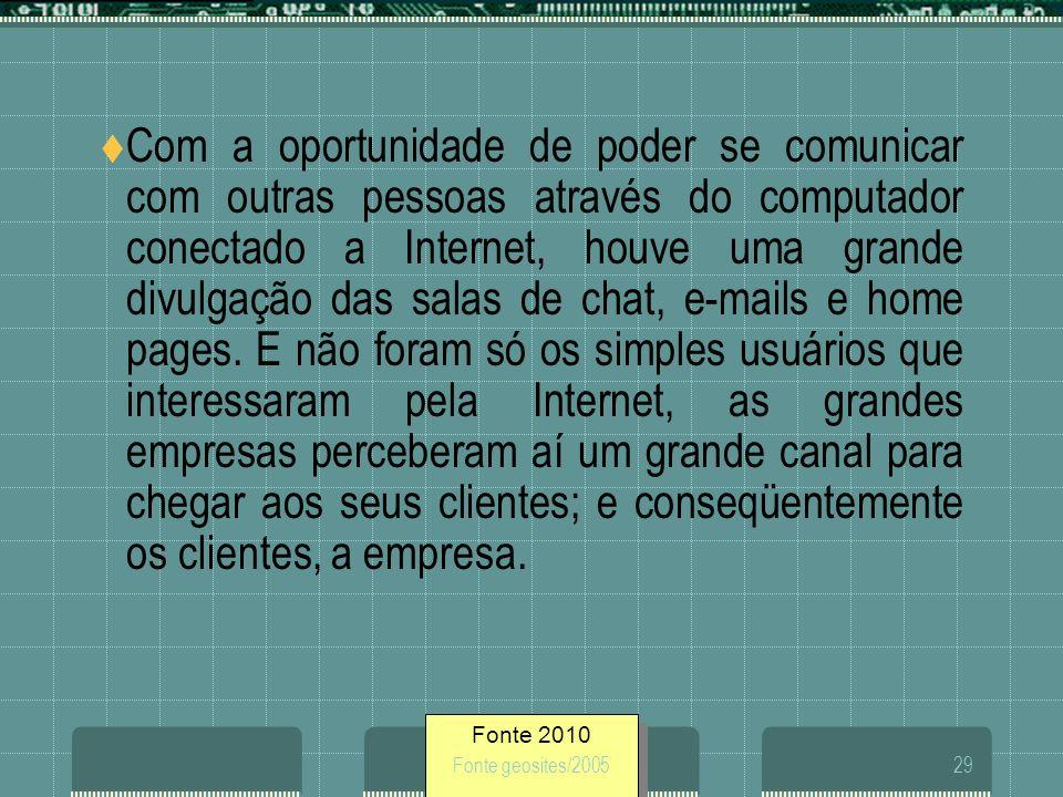 Fonte 2010 Fonte geosites/200529 Com a oportunidade de poder se comunicar com outras pessoas através do computador conectado a Internet, houve uma gra