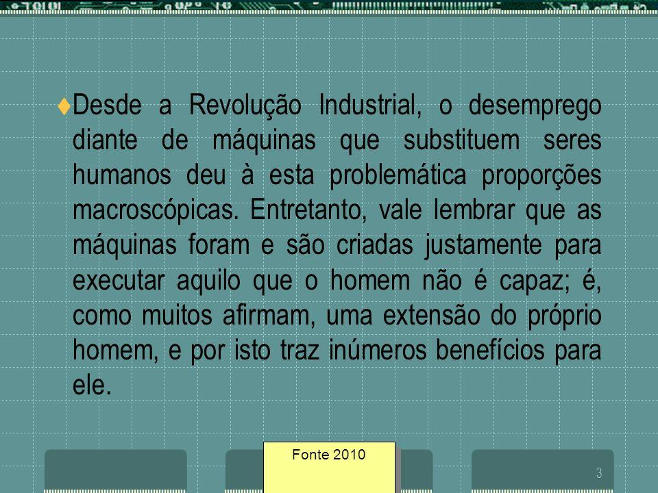 Fonte geosites/20053 Desde a Revolução Industrial, o desemprego diante de máquinas que substituem seres humanos deu à esta problemática proporções mac
