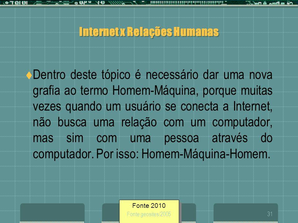 Fonte 2010 Fonte geosites/200531 Internet x Relações Humanas Dentro deste tópico é necessário dar uma nova grafia ao termo Homem-Máquina, porque muita