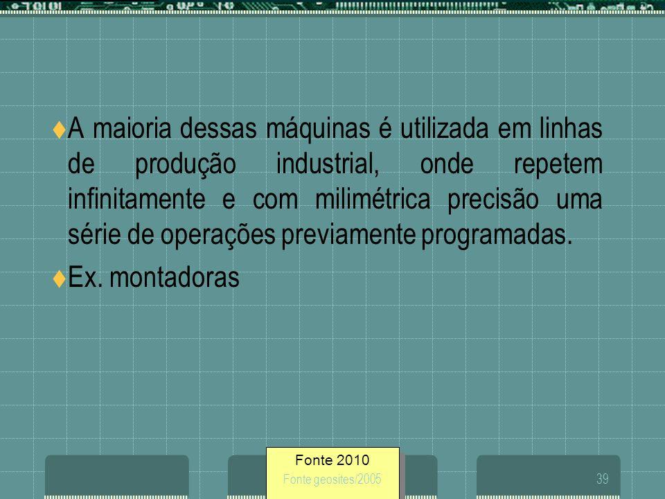 Fonte 2010 Fonte geosites/200539 A maioria dessas máquinas é utilizada em linhas de produção industrial, onde repetem infinitamente e com milimétrica