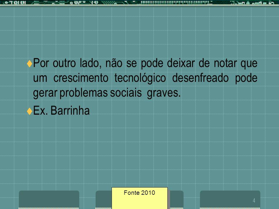 Fonte geosites/20054 Por outro lado, não se pode deixar de notar que um crescimento tecnológico desenfreado pode gerar problemas sociais graves. Ex. B