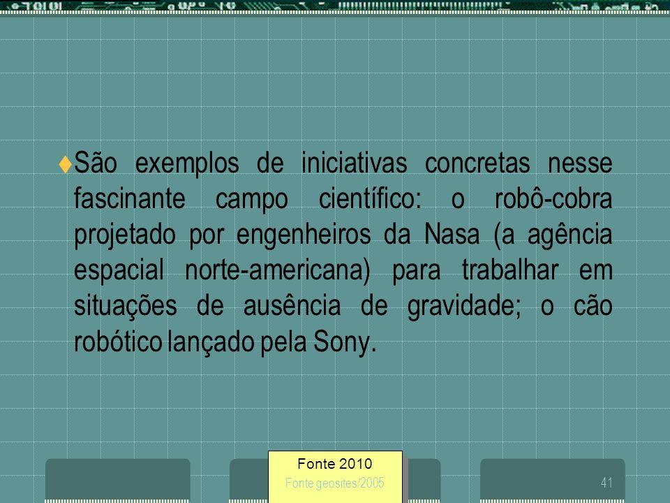 Fonte 2010 Fonte geosites/200541 São exemplos de iniciativas concretas nesse fascinante campo científico: o robô-cobra projetado por engenheiros da Na