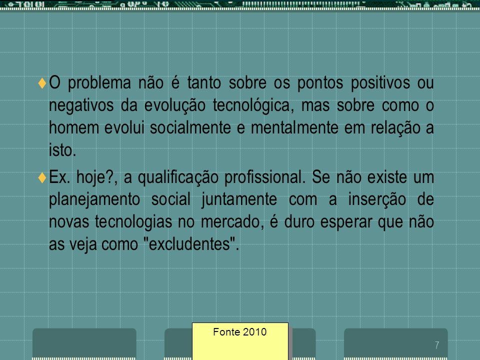 Fonte geosites/20057 O problema não é tanto sobre os pontos positivos ou negativos da evolução tecnológica, mas sobre como o homem evolui socialmente