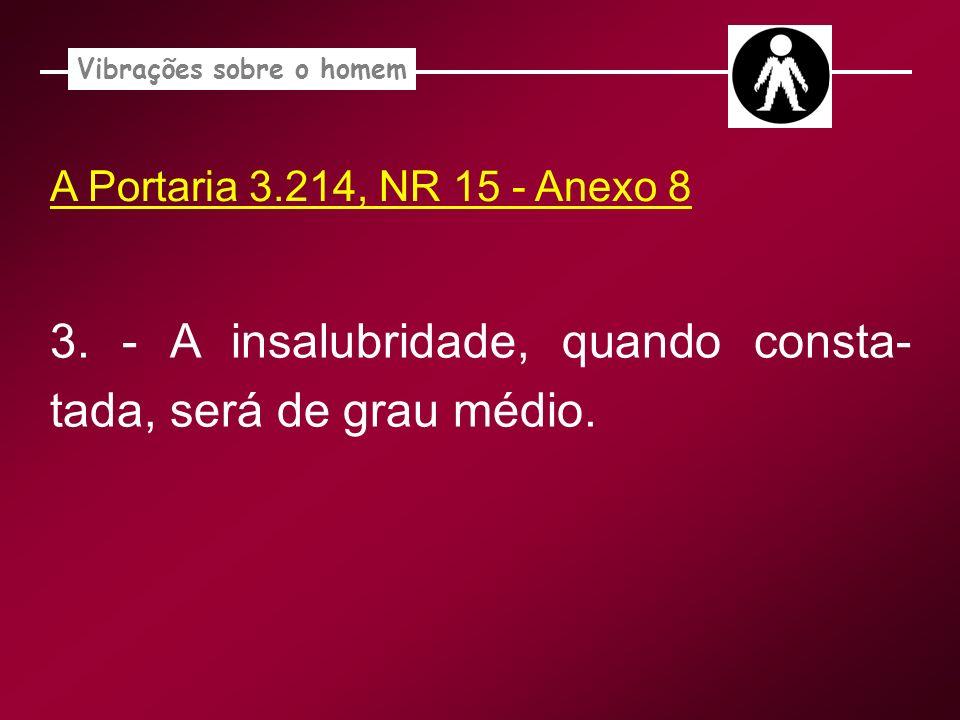 A Portaria 3.214, NR 15 - Anexo 8 Vibrações sobre o homem 3. - A insalubridade, quando consta- tada, será de grau médio.