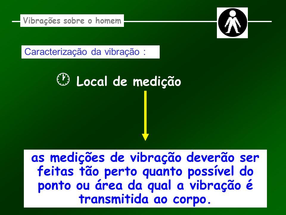 Vibrações sobre o homem Caracterização da vibração : Local de medição as medições de vibração deverão ser feitas tão perto quanto possível do ponto ou