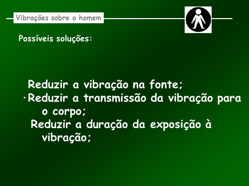 Possíveis soluções: Reduzir a vibração na fonte; ·Reduzir a transmissão da vibração para o corpo; Reduzir a duração da exposição à vibração;