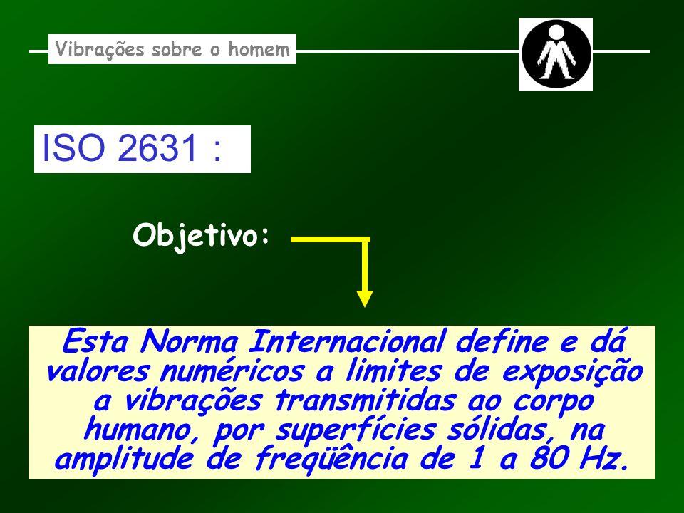 Vibrações sobre o homem Esta Norma Internacional define e dá valores numéricos a limites de exposição a vibrações transmitidas ao corpo humano, por su