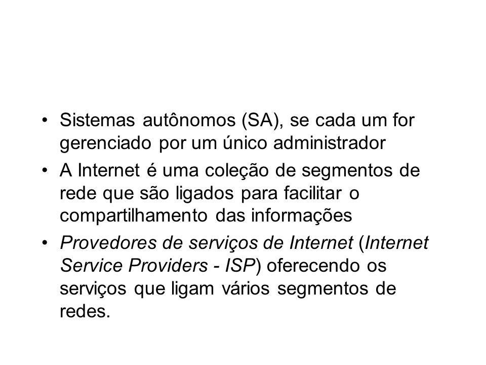 Sistemas autônomos (SA), se cada um for gerenciado por um único administrador A Internet é uma coleção de segmentos de rede que são ligados para facil