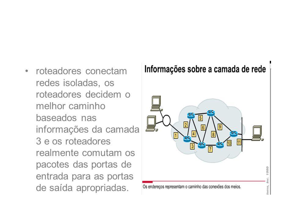 roteadores conectam redes isoladas, os roteadores decidem o melhor caminho baseados nas informações da camada 3 e os roteadores realmente comutam os p
