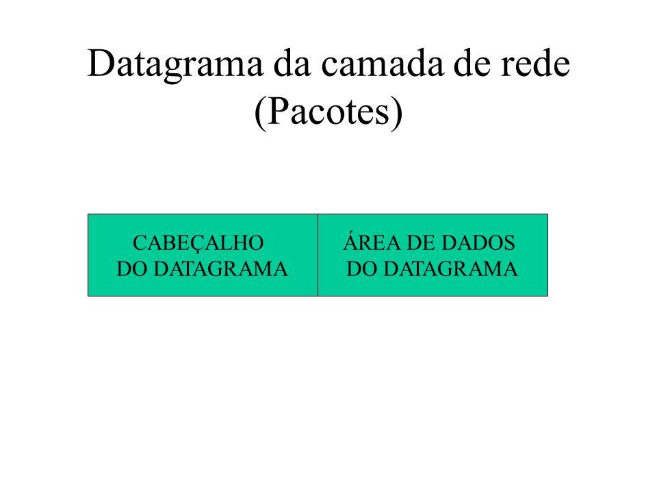 Datagrama da camada de rede (Pacotes) CABEÇALHO DO DATAGRAMA ÁREA DE DADOS DO DATAGRAMA