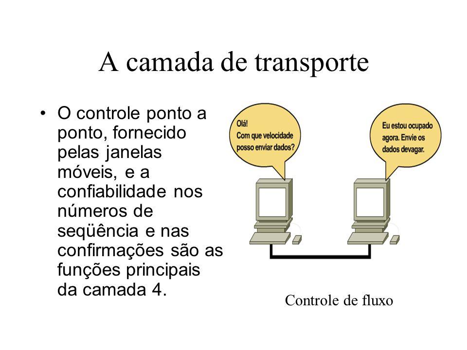 A camada de transporte O controle ponto a ponto, fornecido pelas janelas móveis, e a confiabilidade nos números de seqüência e nas confirmações são as