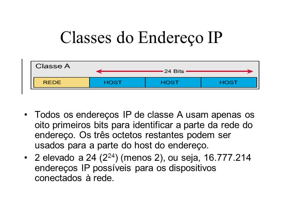 Classes do Endereço IP Todos os endereços IP de classe A usam apenas os oito primeiros bits para identificar a parte da rede do endereço. Os três octe