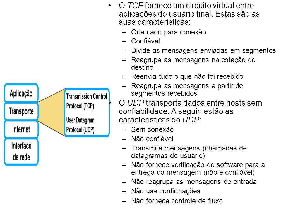 O TCP fornece um circuito virtual entre aplicações do usuário final. Estas são as suas características: –Orientado para conexão –Confiável –Divide as