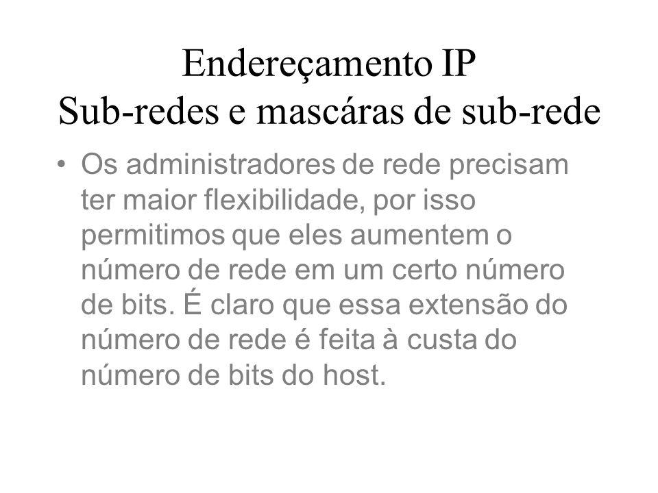Endereçamento IP Sub-redes e mascáras de sub-rede Os administradores de rede precisam ter maior flexibilidade, por isso permitimos que eles aumentem o