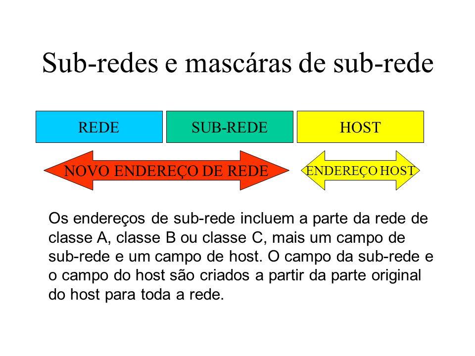 Sub-redes e mascáras de sub-rede REDESUB-REDEHOST NOVO ENDEREÇO DE REDE ENDEREÇO HOST Os endereços de sub-rede incluem a parte da rede de classe A, cl