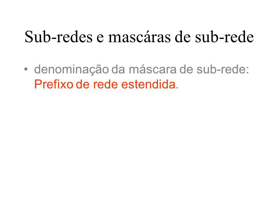 Sub-redes e mascáras de sub-rede denominação da máscara de sub-rede: Prefixo de rede estendida.