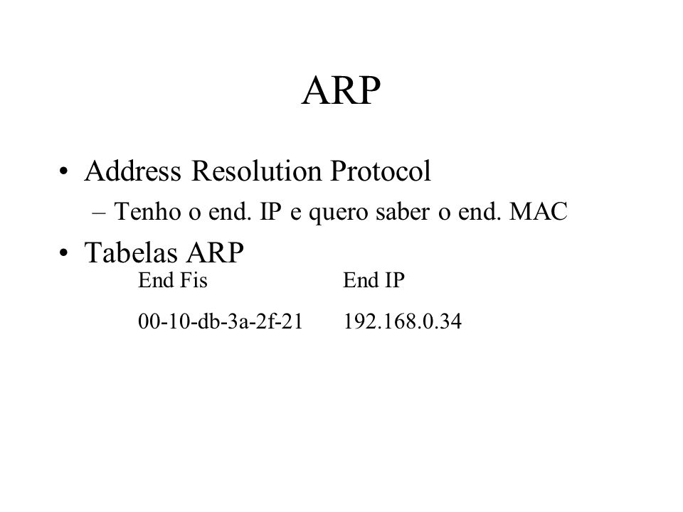 ARP Address Resolution Protocol –Tenho o end. IP e quero saber o end. MAC Tabelas ARP End FisEnd IP 00-10-db-3a-2f-21192.168.0.34