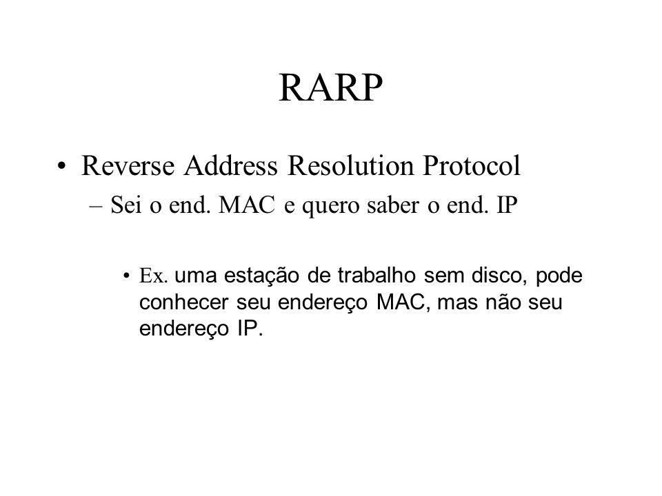 RARP Reverse Address Resolution Protocol –Sei o end. MAC e quero saber o end. IP Ex. uma estação de trabalho sem disco, pode conhecer seu endereço MAC