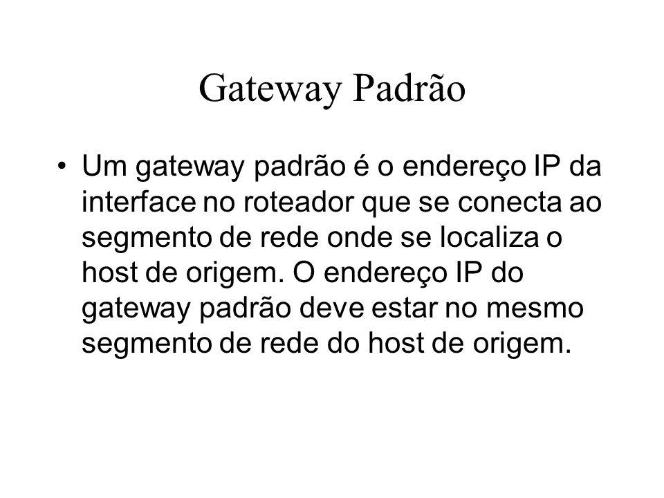 Gateway Padrão Um gateway padrão é o endereço IP da interface no roteador que se conecta ao segmento de rede onde se localiza o host de origem. O ende