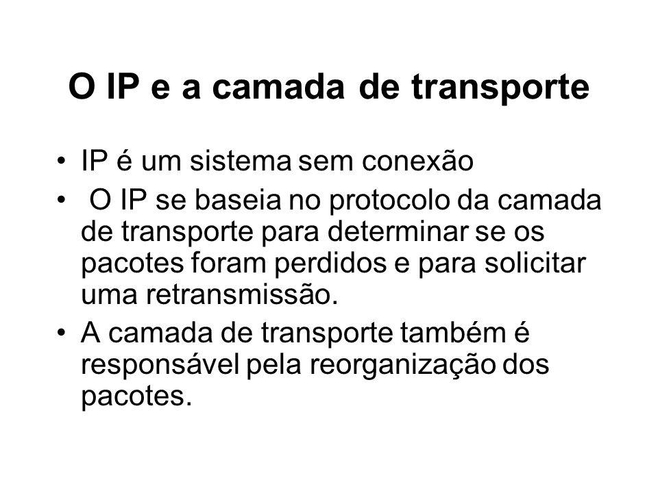 O IP e a camada de transporte IP é um sistema sem conexão O IP se baseia no protocolo da camada de transporte para determinar se os pacotes foram perd