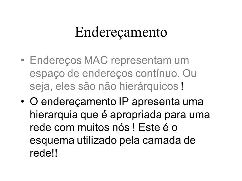 Endereçamento Endereços MAC representam um espaço de endereços contínuo. Ou seja, eles são não hierárquicos ! O endereçamento IP apresenta uma hierarq