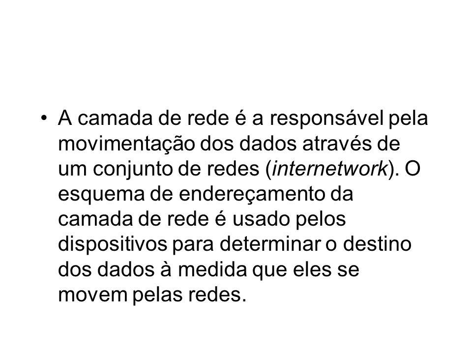A camada de rede é a responsável pela movimentação dos dados através de um conjunto de redes (internetwork). O esquema de endereçamento da camada de r