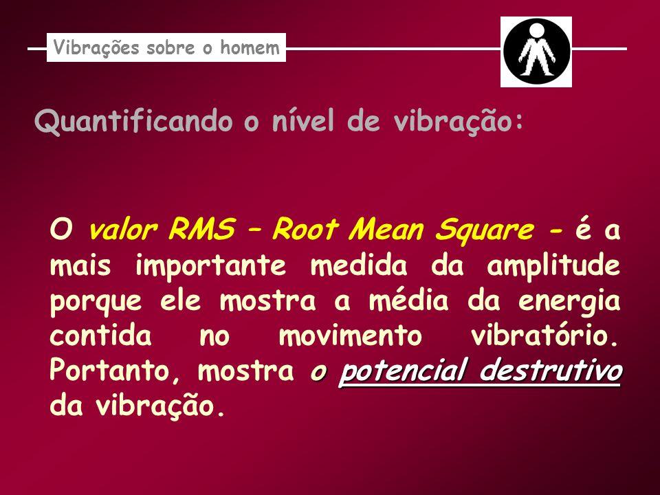 Quantificando o nível de vibração: o potencial destrutivo O valor RMS – Root Mean Square - é a mais importante medida da amplitude porque ele mostra a