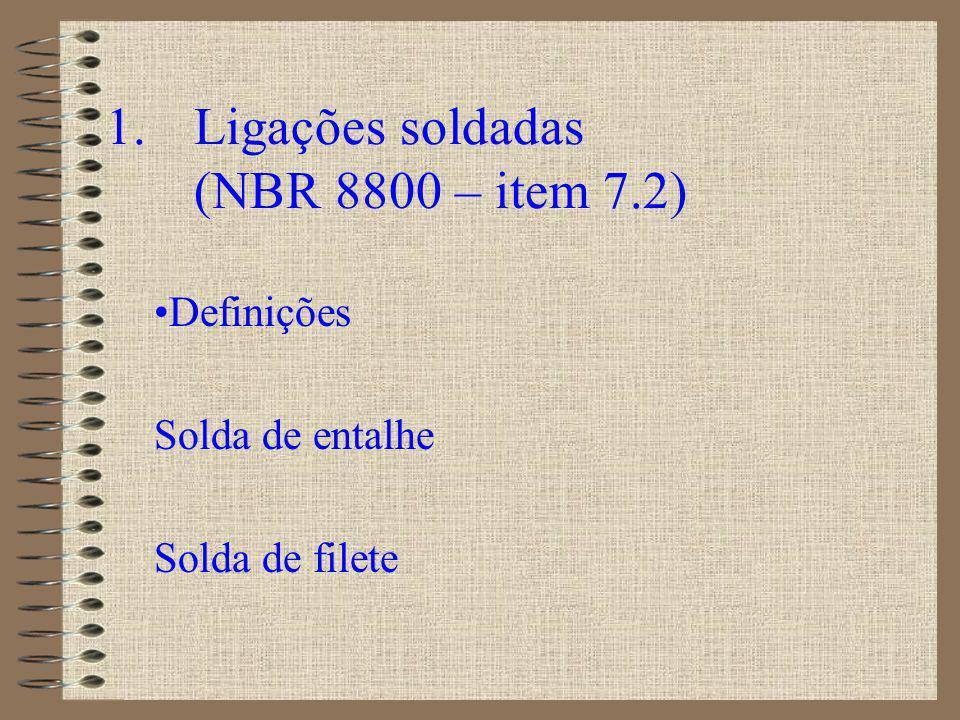 Definições SOLDA DE FILETE SOLDA DE ENTALHE - penetração total tipo 1 - penetração parcial tipos 2 a 9