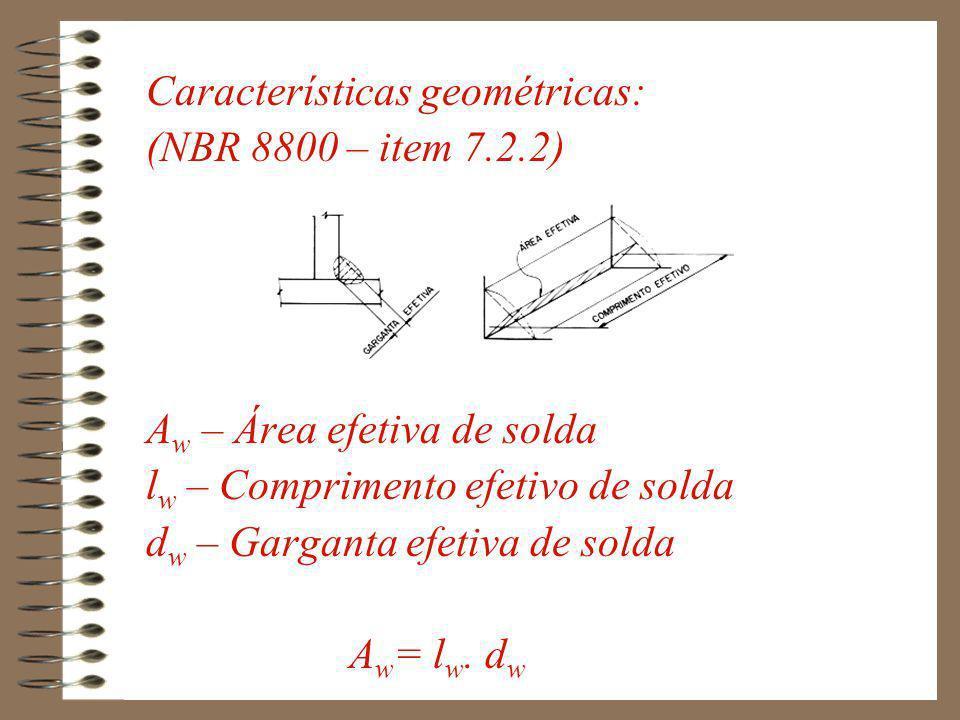 A MB – Área efetiva do metal base l w – Comprimento efetivo de solda b 1, b 2 - Perna do cordão de solda A MB = l w.