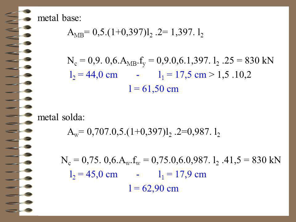 Utilizando a máxima espessura de solda: b max = t cant – 1,5 mm = 9,5 –1,5 = 8,0 mm metal base: A MB = 0,8.(1+0,397)l 2.2 = 2,235.