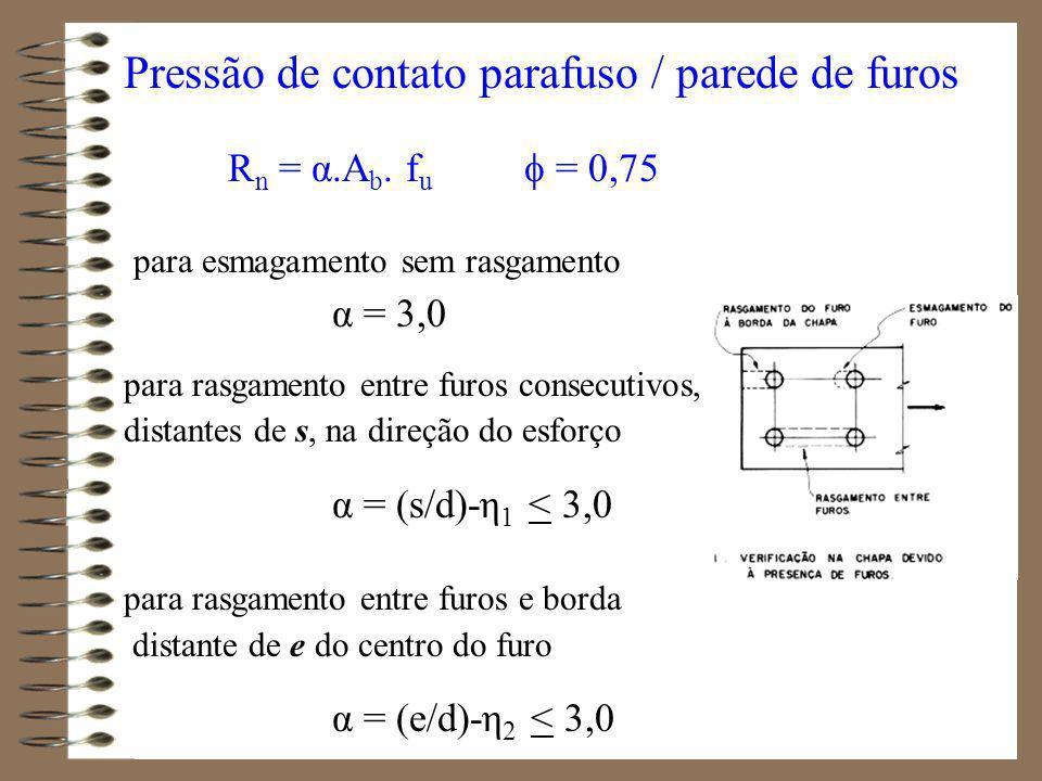 Combinação tração / cisalhamento (item 7.3.2.5 - tabela 14) Parafusos ASTM A307 t R nt < 0,64.A p.