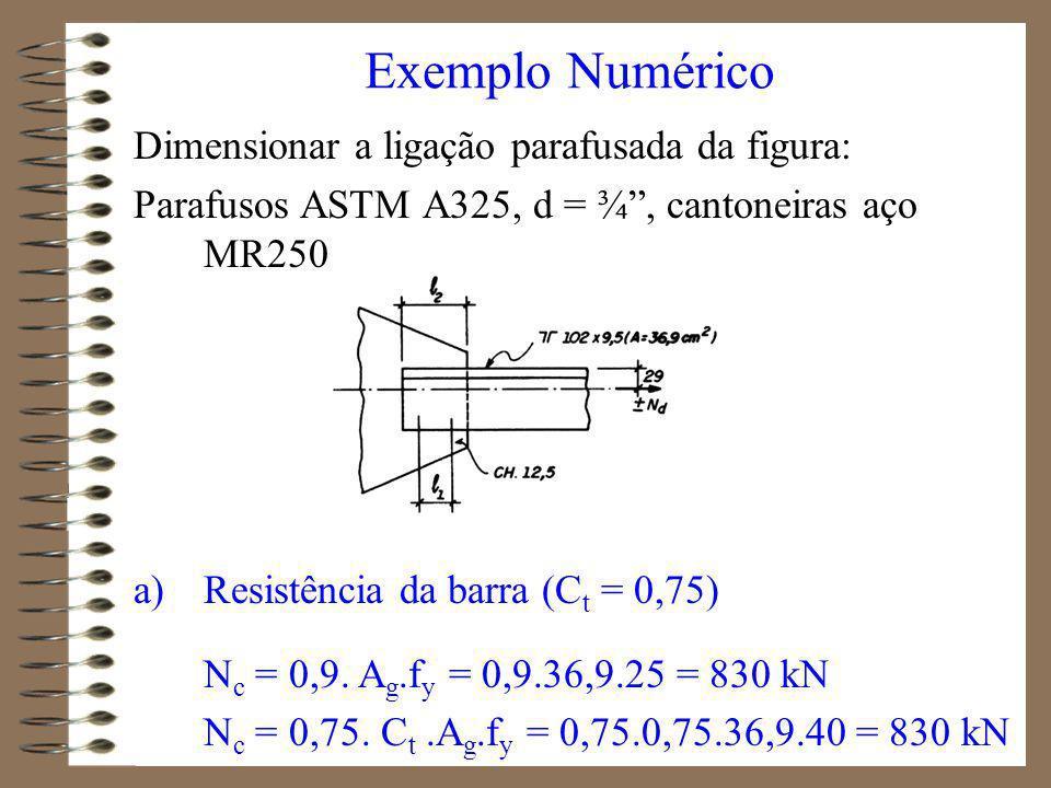 b) Resistência dos parafusos (cisalhamento) v R nv = 0,65.0,42.A p.