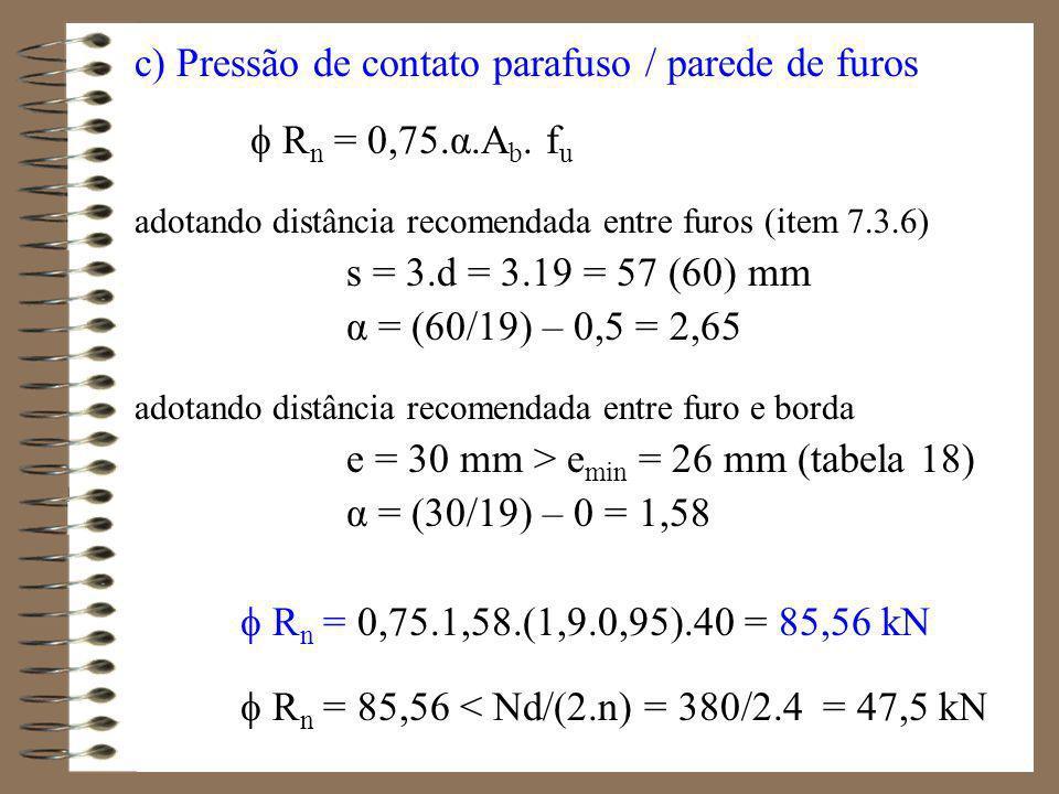 d) Colapso por rasgamento (na barra) Ruptura da seção líquida efetiva R n = 0,75.(A v +A t ) liquida.