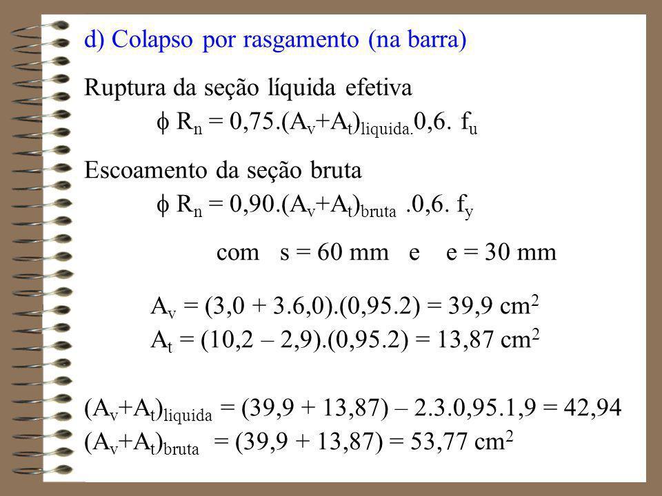 Resistências de cálculo ao colapso das áreas R n = 0,75.42,94.0,6.40 = 772,9 kN R n = 0,90.53,77.0,6.25 = 725,9 kN R n > Nd = 380 kN