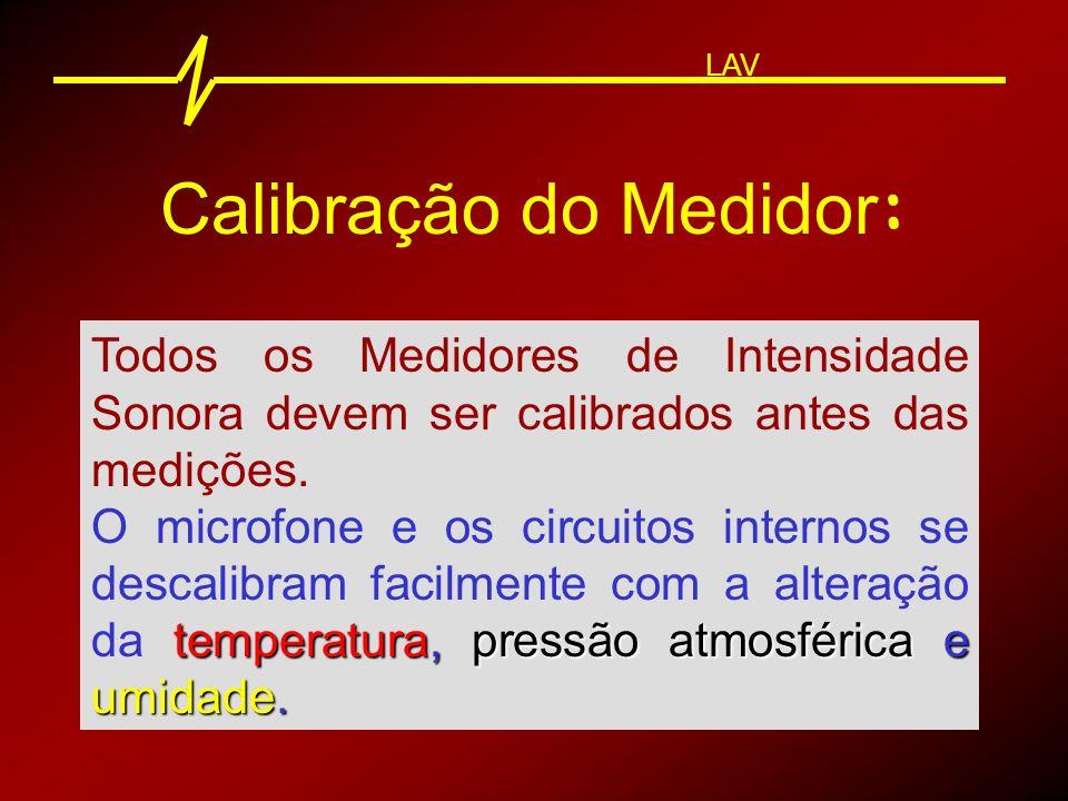 Calibração do Medidor : LAV A Calibração deve ser realizada com o uso de calibradores sonoros externos.