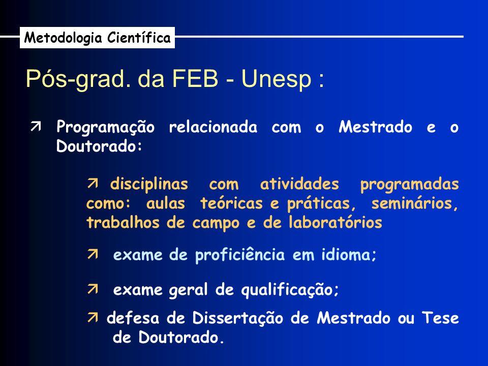 Pós-grad. da FEB - Unesp : Metodologia Científica Programação relacionada com o Mestrado e o Doutorado: disciplinas com atividades programadas como: a