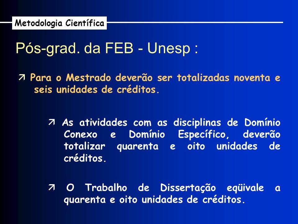 Pós-grad. da FEB - Unesp : Metodologia Científica Para o Mestrado deverão ser totalizadas noventa e seis unidades de créditos. As atividades com as di