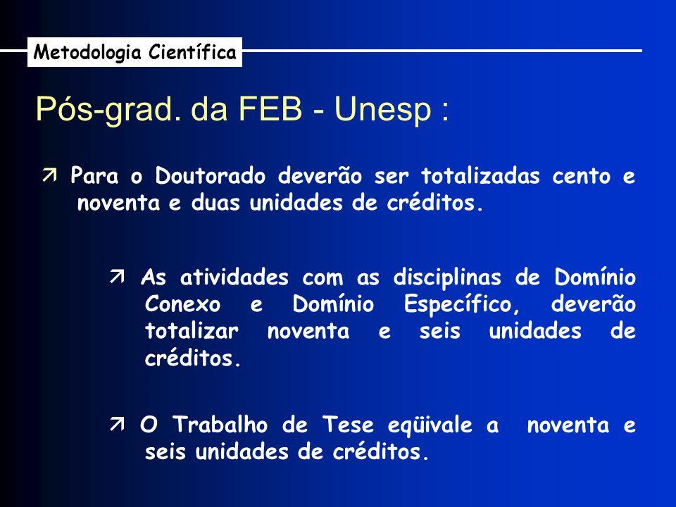 Pós-grad. da FEB - Unesp : Metodologia Científica Para o Doutorado deverão ser totalizadas cento e noventa e duas unidades de créditos. As atividades