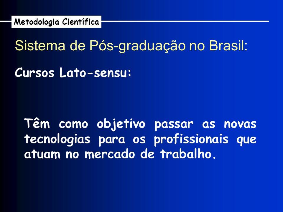 Sistema de Pós-graduação no Brasil: Metodologia Científica Cursos Lato-sensu: Têm como objetivo passar as novas tecnologias para os profissionais que