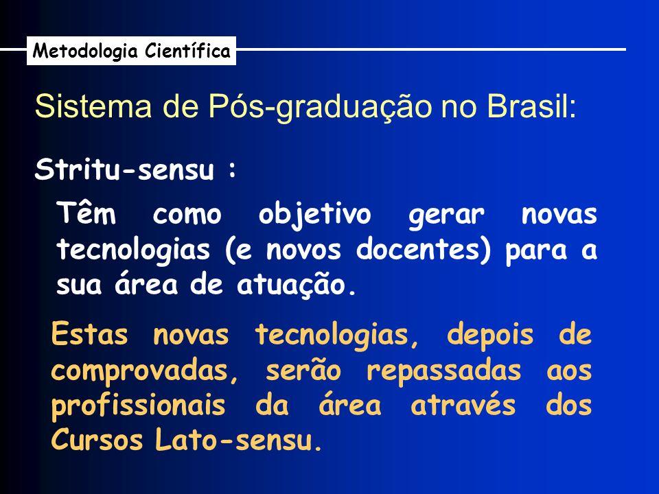Sistema de Pós-graduação no Brasil: Metodologia Científica Stritu-sensu : Têm como objetivo gerar novas tecnologias (e novos docentes) para a sua área