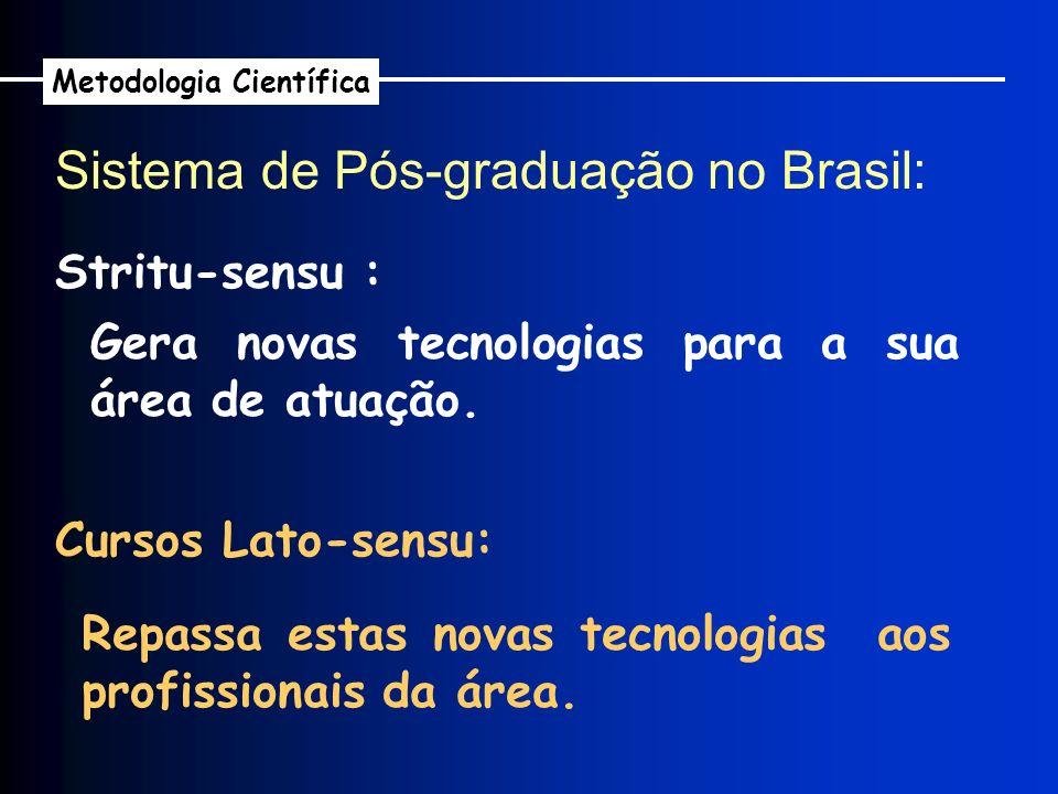 Sistema de Pós-graduação no Brasil: Metodologia Científica Stritu-sensu : Gera novas tecnologias para a sua área de atuação. Repassa estas novas tecno
