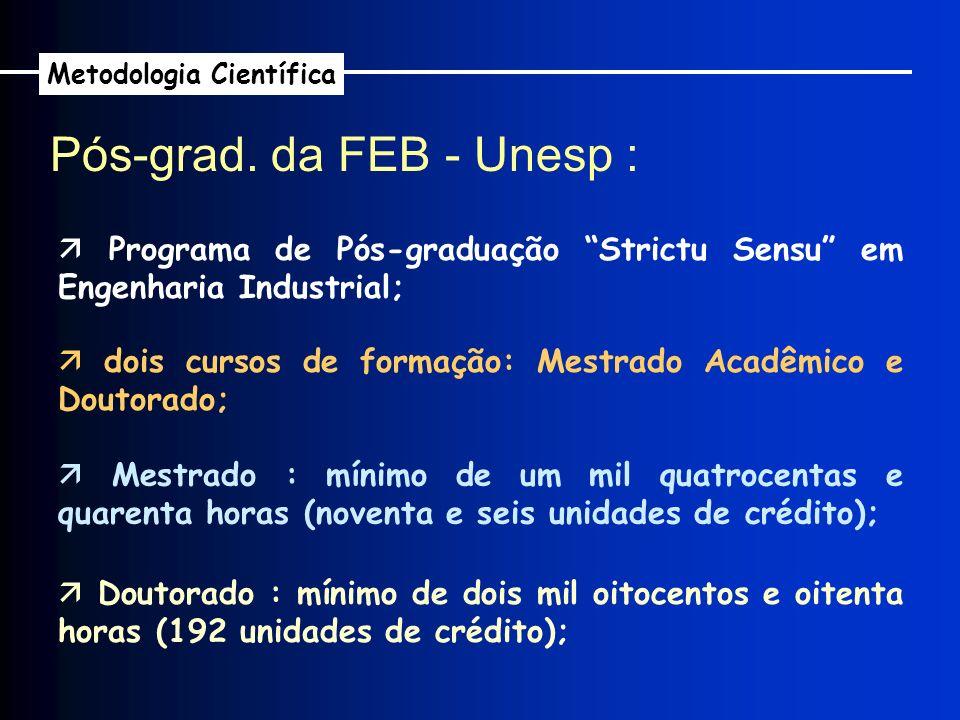 Pós-grad. da FEB - Unesp : Metodologia Científica Programa de Pós-graduação Strictu Sensu em Engenharia Industrial; dois cursos de formação: Mestrado